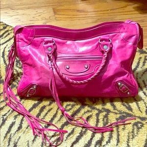 Hot pink leather purse w/ tassels
